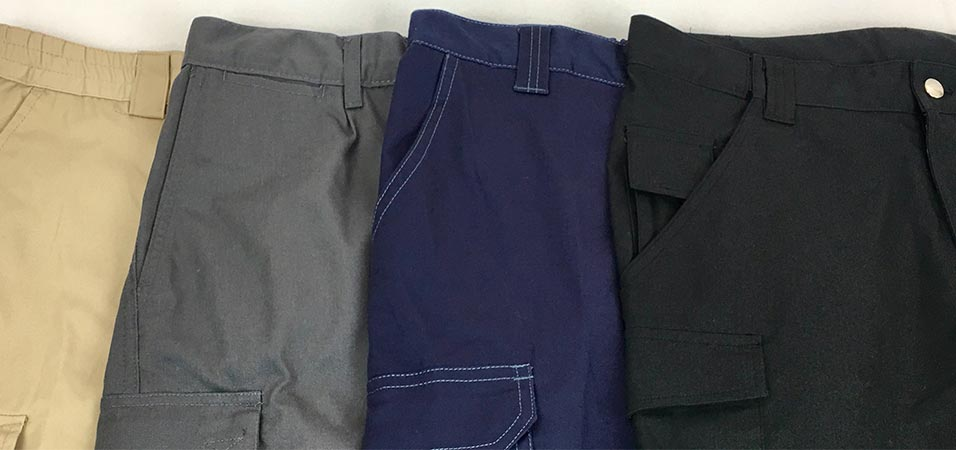 Pantalones cortos y largos bordados de trabajo en diferentes colores