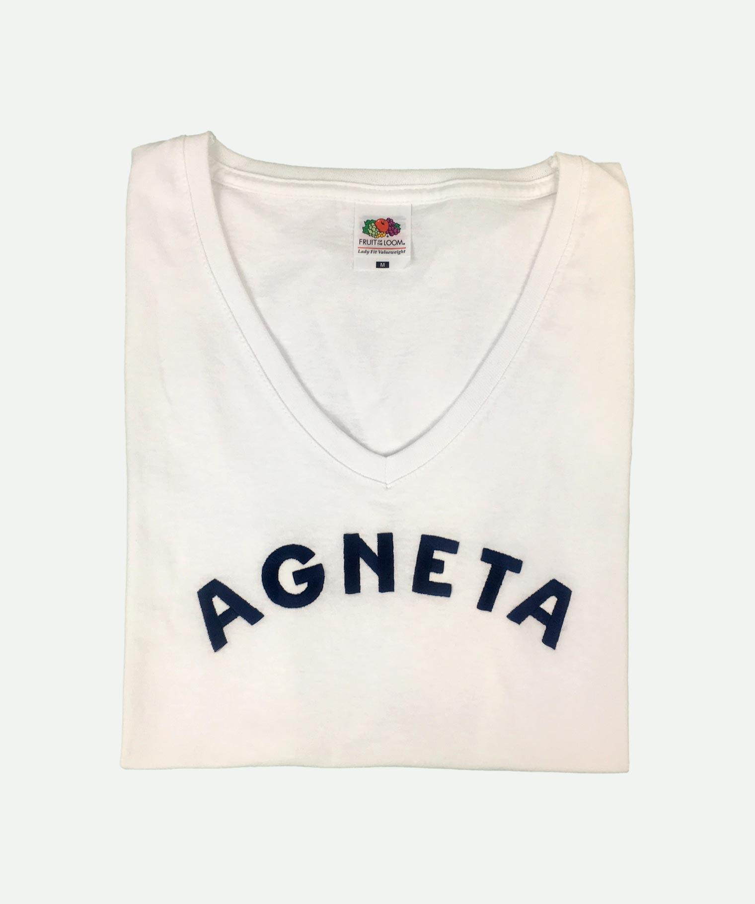 Camiseta bordada de pico blanca
