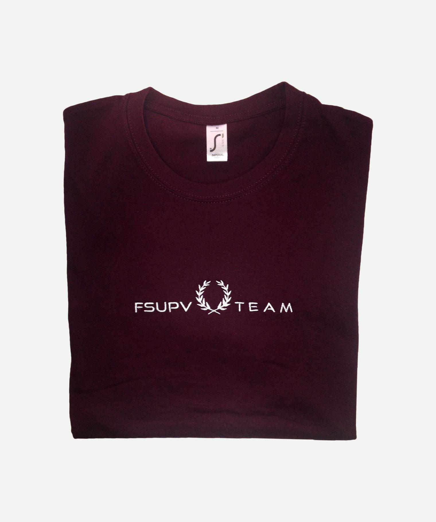 Camiseta bordada granate