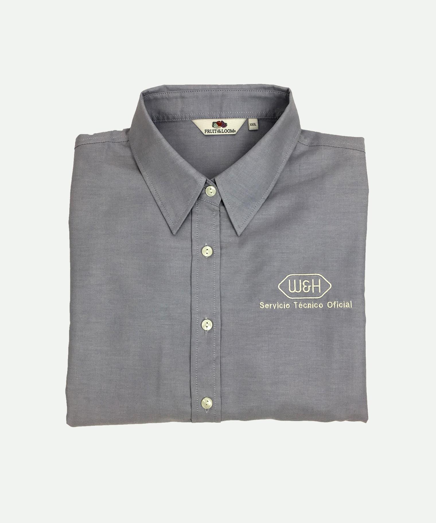 Camisa de mujer bordada gris