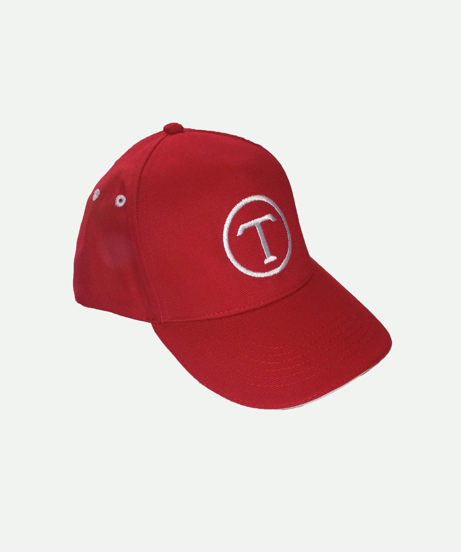 Gorra bordada 5 paneles roja