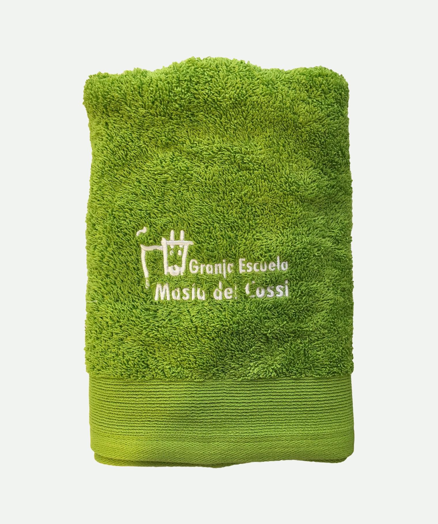 Toalla bordada verde